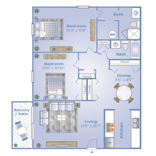2 Bedroom Floor Plan | Fern Park Apartments | Magnolia