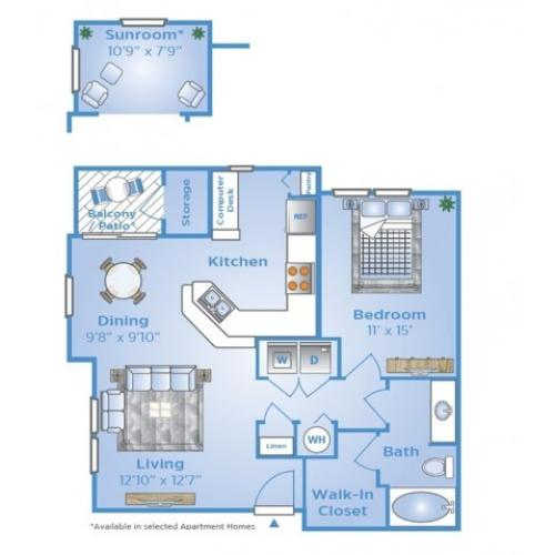 One Bedroom Floor Plan | Apartments on Beltway 8 | Advenir at Wynstone
