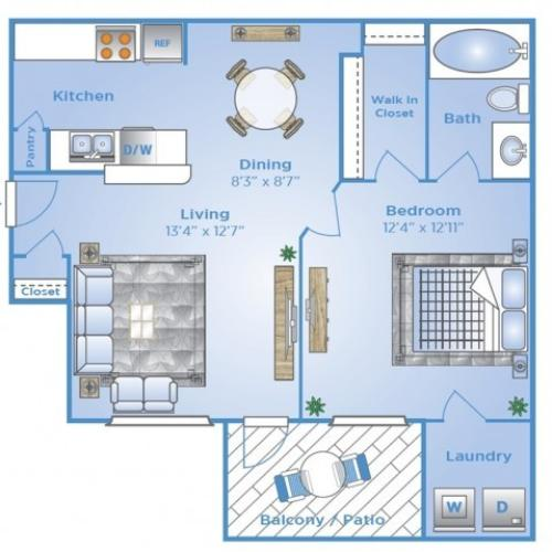 1 Bedroom Floor Plan | Apartments In Baytown TX | Advenir at the Preserve