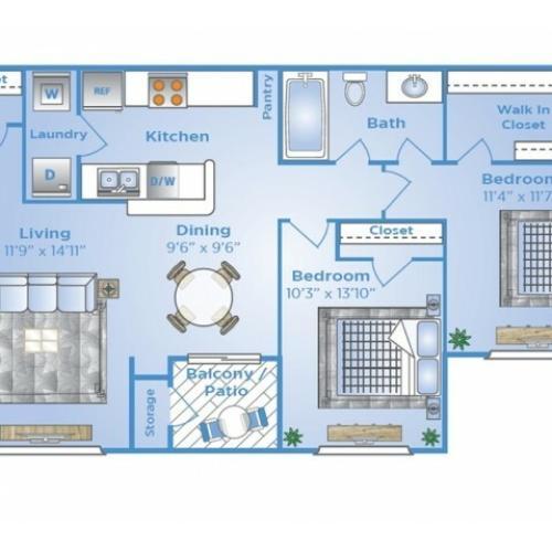 2 Bedroom Floor Plan   Baytown Texas Apartments   Advenir at the Preserve
