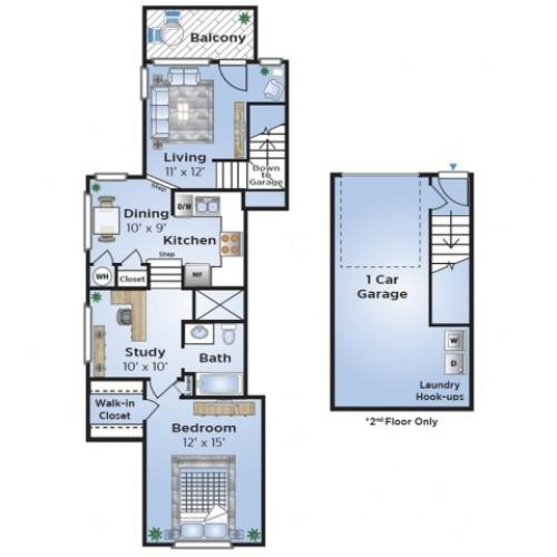 1 Bedroom Floor Plan | North Dallas Townhomes | Advenir at Prestonwood
