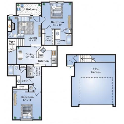 2 Bdrm Floor Plan | Townhomes For Rent In Dallas TX | Advenir at Prestonwood