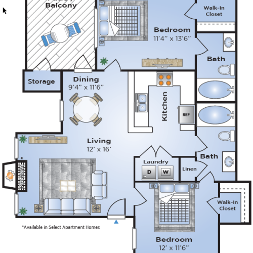 2 Bedroom Floor Plan | Apartments In Lake Charles Louisiana | Advenir at Lake Charles