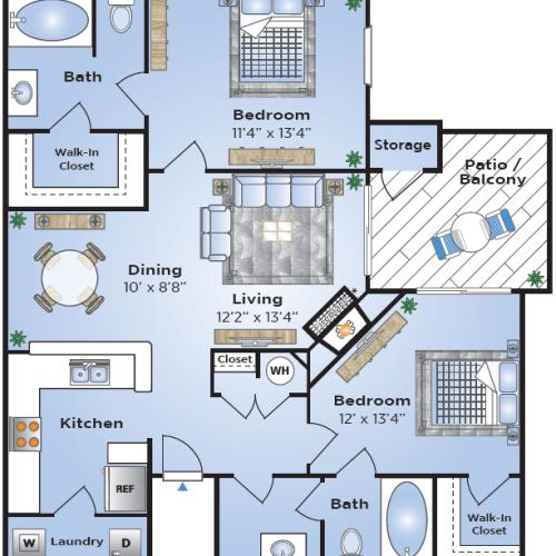 2 Bdrm Floor Plan   Apartments In Lake Charles   Advenir at Lake Charles