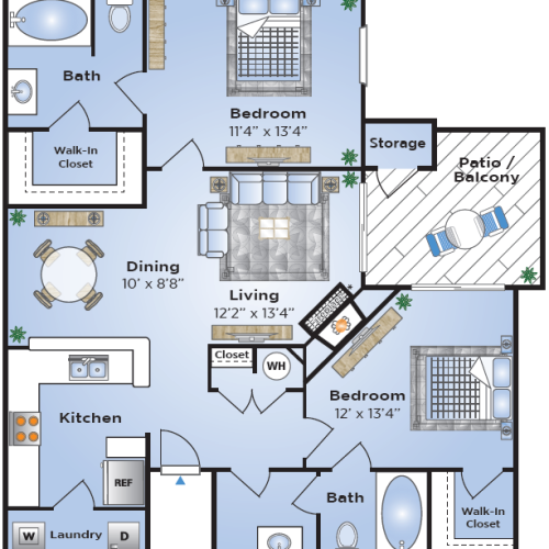 2 Bdrm Floor Plan | Apartments In Lake Charles | Advenir at Lake Charles