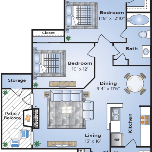 Floor Plan 1 | Apartments In Lake Charles LA | Advenir at Lake Charles