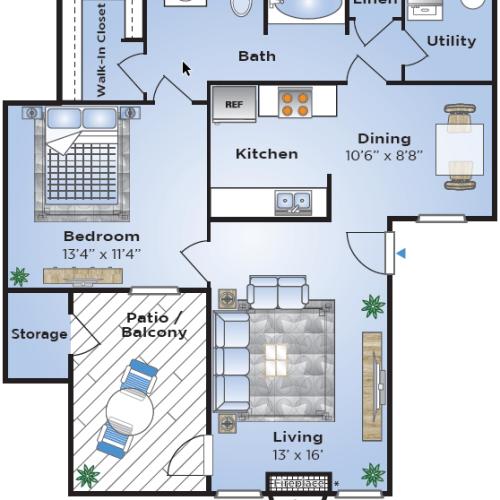 1 Bdrm Floor Plan | Lake Charles Apartments | Advenir at Lake Charles
