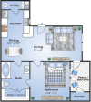 1 Bedroom Floor Plan | Apartments In Lake Charles LA | Advenir at Lake Charles