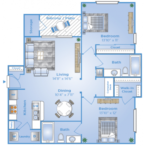 2 Bdrm Floor Plan | Luxury Apartments In Sugar Land Tx | Advenir at Milan