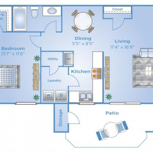 1 Bedroom Floor Plan | Colorado Springs Apartments | Advenir at Spring Canyon