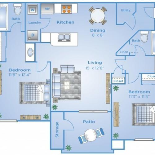 2 Bedroom Floor Plan | Apartments In Colorado Springs Co | Advenir at Spring Canyon
