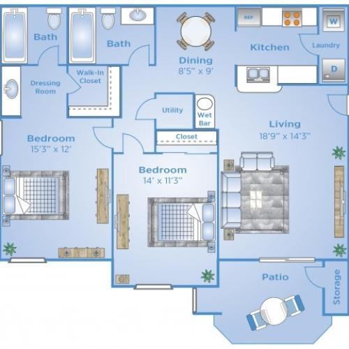 2 Bdrm Floor Plan | Colorado Springs CO Apartments | Advenir at Spring Canyon