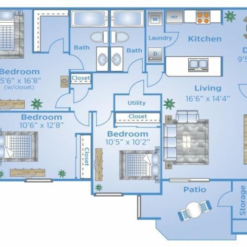 3 Bedroom Floor Plan | Colorado Springs Apartment For Rent | Advenir at Spring Canyon