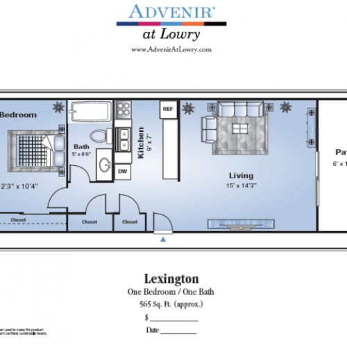 1 Bedroom Floor Plan | Stapleton Denver Apartments | Advenir at Lowry