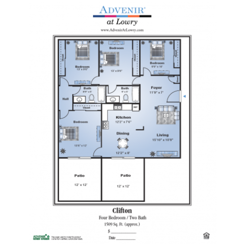 4 Bedroom Floor Plan | Denver Colorado Apartments | Advenir at Lowry