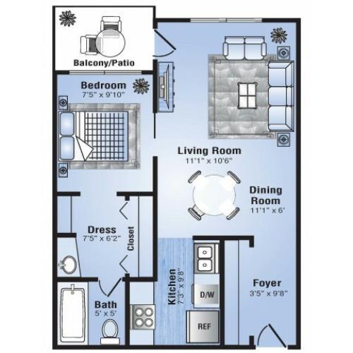 1 Bedroom Floor Plan | Apartments In Stapleton Co | Advenir at Stapleton