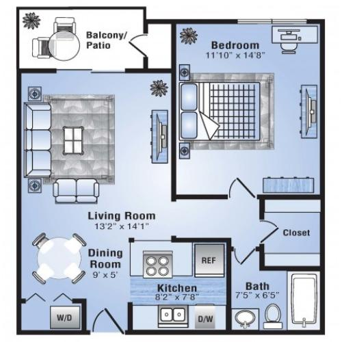 1 Bdrm Floor Plan | Stapleton Apartments | Advenir at Stapleton