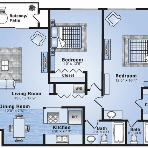 2 Bedroom Floor Plan | Apartments In Stapleton | Advenir at Stapleton