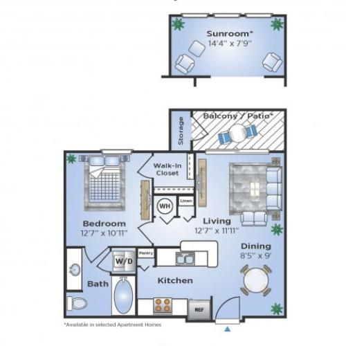 1 Bdrm Floor Plan | Apartments In Humble | Advenir at Eagle Creek
