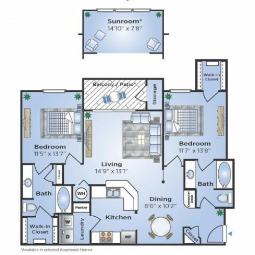 2 Bdrm Floor Plan | Humble Texas Apartments | Advenir at Eagle Creek