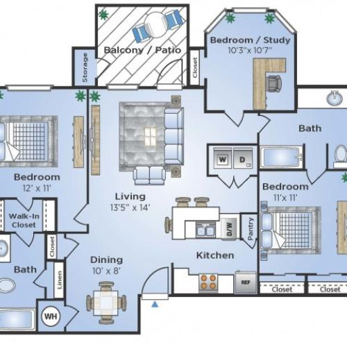 3 Bedroom Floor Plan | Houston TX Apartments Near Medical Center | Advenir at the Med Center