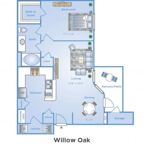 1 Bedroom Floor Plan | Apartments In Sugar Land | Advenir at Woodbridge Reserve