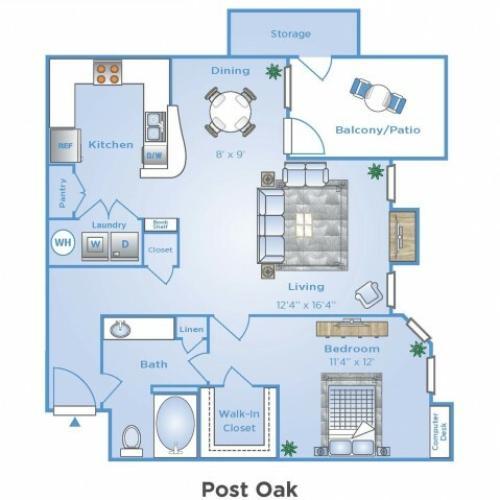 1 Bdrm Floor Plan | Sugar Land Apartments | Advenir at Woodbridge Reserve
