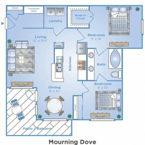2 Bedroom Floor Plan | Apartments In North Houston | Advenir at Stone Park