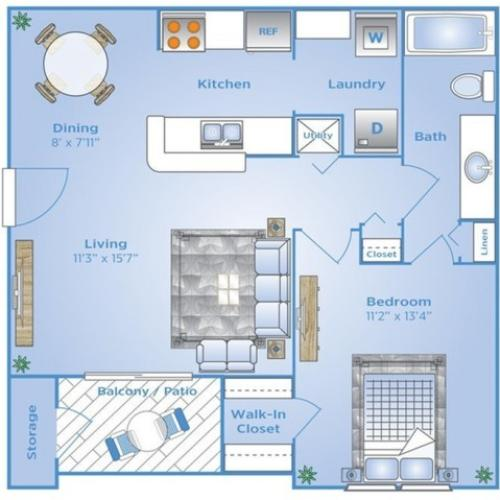 One Bedroom Floor Plan | Apartments Ocoee FL | Advenir at The Oaks