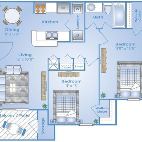 2 Bedroom Floor Plan | Apartments Near Winter Garden Fl | Advenir at the Oaks