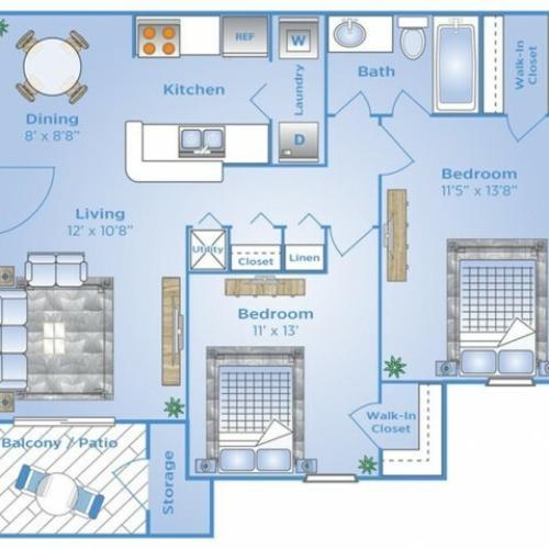 2 Bedroom Floor Plan | Apartments Near Winter Garden Fl | Advenir at the Oaks
