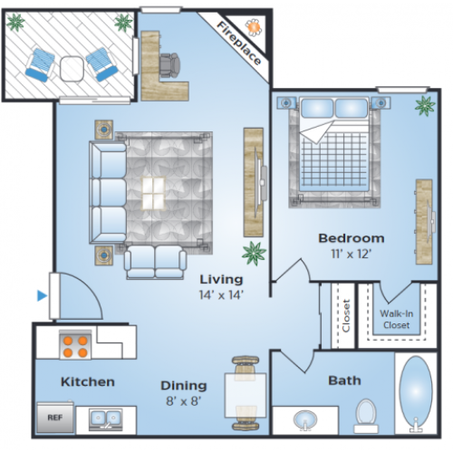 1 Bedroom Floor Plan | Denver Colorado Apartments | Advenir at Bear Valley