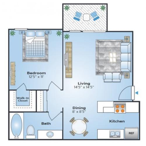 1 Bdrm Floor Plan | Apartments In Denver Colorado | Advenir at Bear Valley