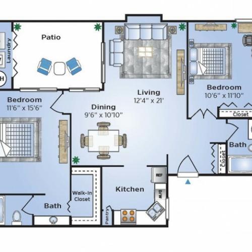 2 Bedroom Floor Plan | Apartments In Coconut Creek | Advenir at Cocoplum