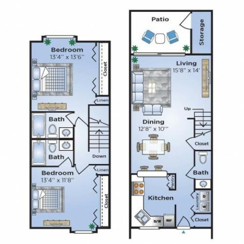 2 Bdrm Floor Plan | Apartments In Coconut Creek Florida | Advenir at Cocoplum