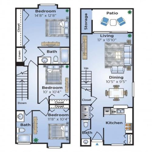 3 Bdrm Floor Plan   Coconut Creek Florida Apartments   Advenir at Cocoplum