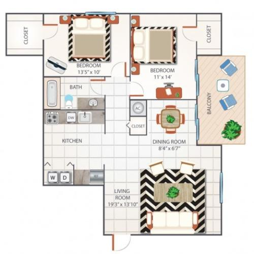 2 Bedroom Floor Plan | Apartments In Palm Beach Gardens Florida | Turnbury at Palm Beach Garden