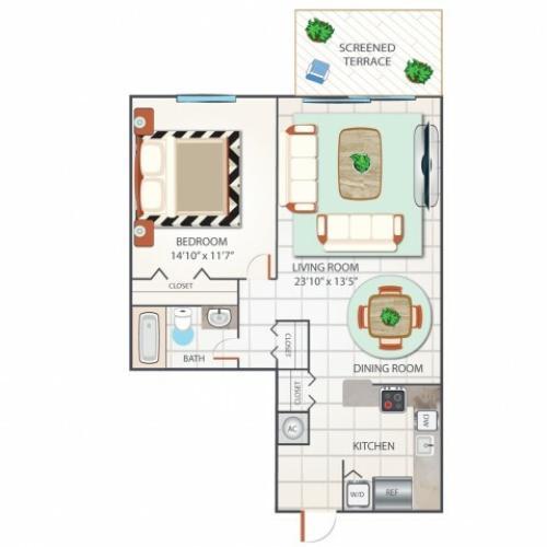1 Bedroom Floor Plan | Palm Beach Gardens Apartments | Turnbury at Palm Beach Garden