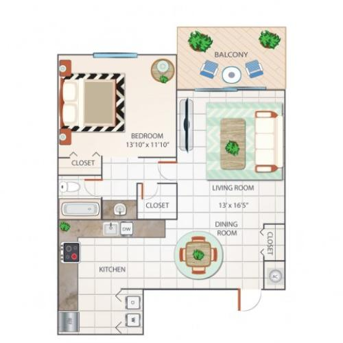 1 Bdrm Floor Plan | Apartments In Palm Beach Gardens | Turnbury at Palm Beach Garden