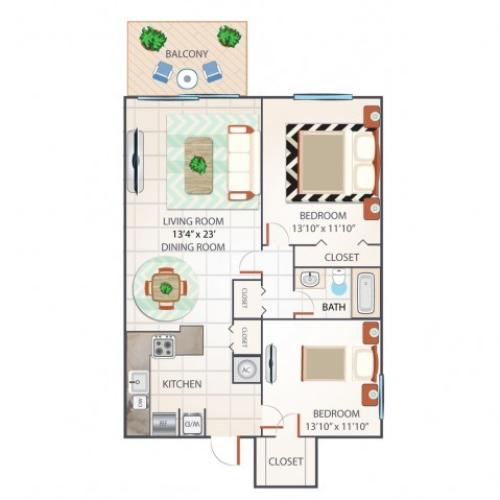 2 Bdrm Floor Plan | Palm Beach Gardens FL Apartments | Turnbury at Palm Beach Garden