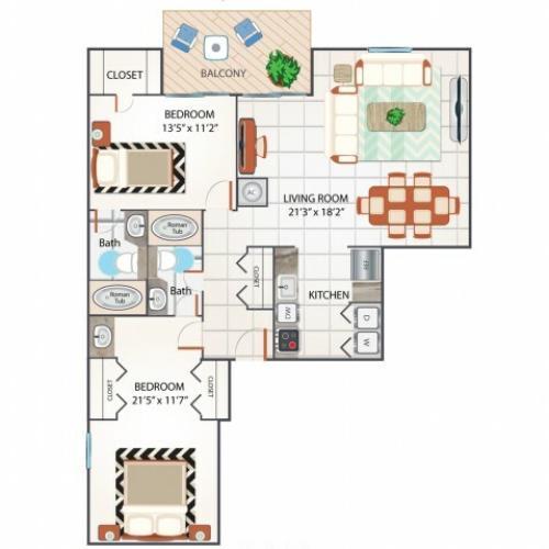 2 Bedroom Floor Plan | Apartments In Palm Beach Gardens Florida | Turnbury at Palm Beach Garden