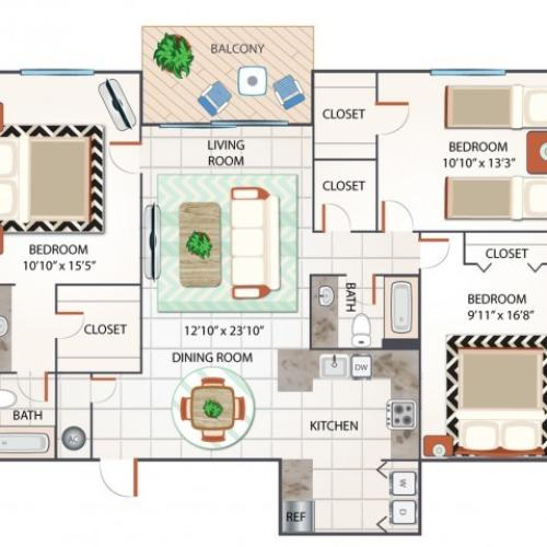3 Bedroom Floor Plan | Apartments In Palm Beach Gardens FL | Turnbury at Palm Beach Garden