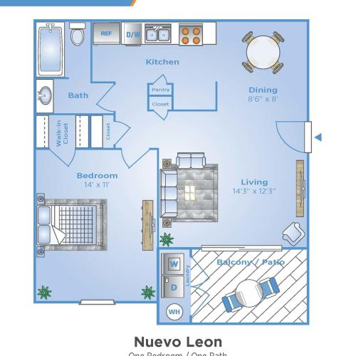 1 Bedroom Floor Plan | Venice FL Apartments | Advenir at Monterrey