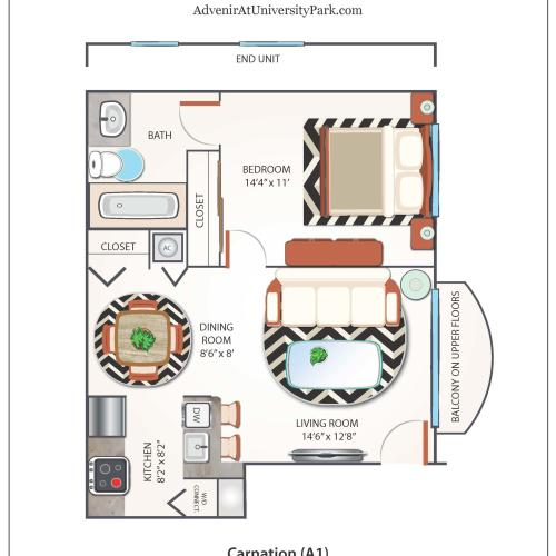 1 Bedroom Floor Plan | Apartments Near FIU | Advenir at University Park