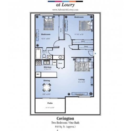 2 Bedroom Floor Plan | Apartments In Denver | Advenir at Lowry