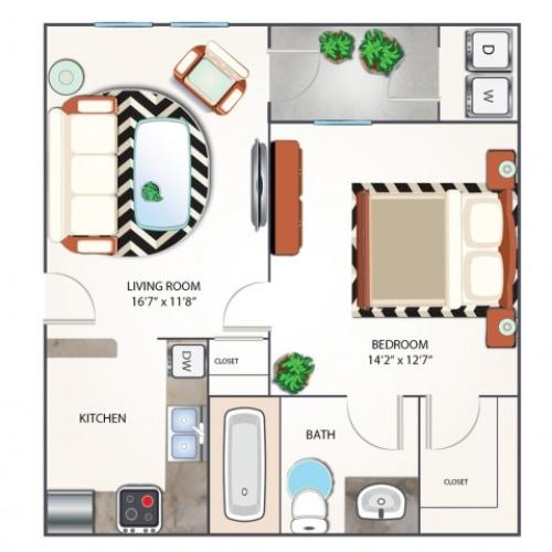 One Bedroom Floor Plan | Apartments Midland TX | Advenir at Mayfield
