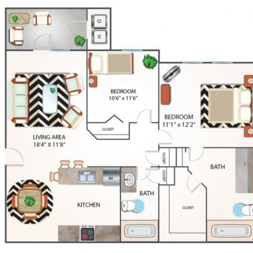 Two Bedroom Floor Plan | Apartments Midland TX | Advenir at Mayfield