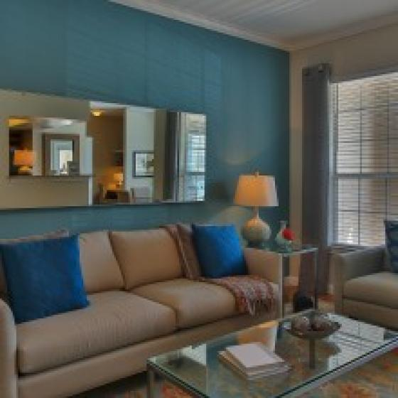 Advenir at Stone Park, interior, living room, comfortable couch and arm chair, wall mirror