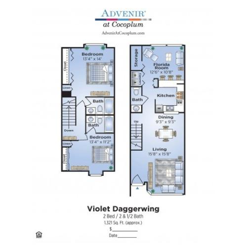 2 Bedroom Floor Plan | Apartments In Coconut Creek | Advenir at Cocoplum