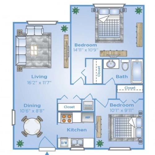 2 Bdrm Floor Plan | Apartments In Pembroke Pines | Advenir at San Tropez